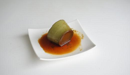 抹茶プリンのレシピ。固めで卵しっかり、横に倒しても型崩れしない!